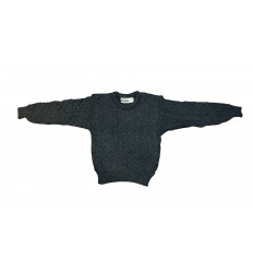 Pull Irelandais Noir traditionnel 100% pure laine vierge