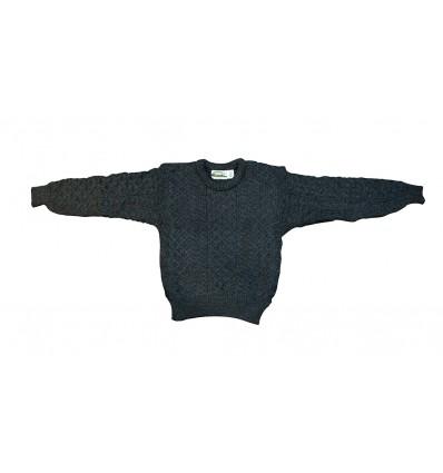 Pull Irelandais Noir traditionnel 100% pure laine vierge