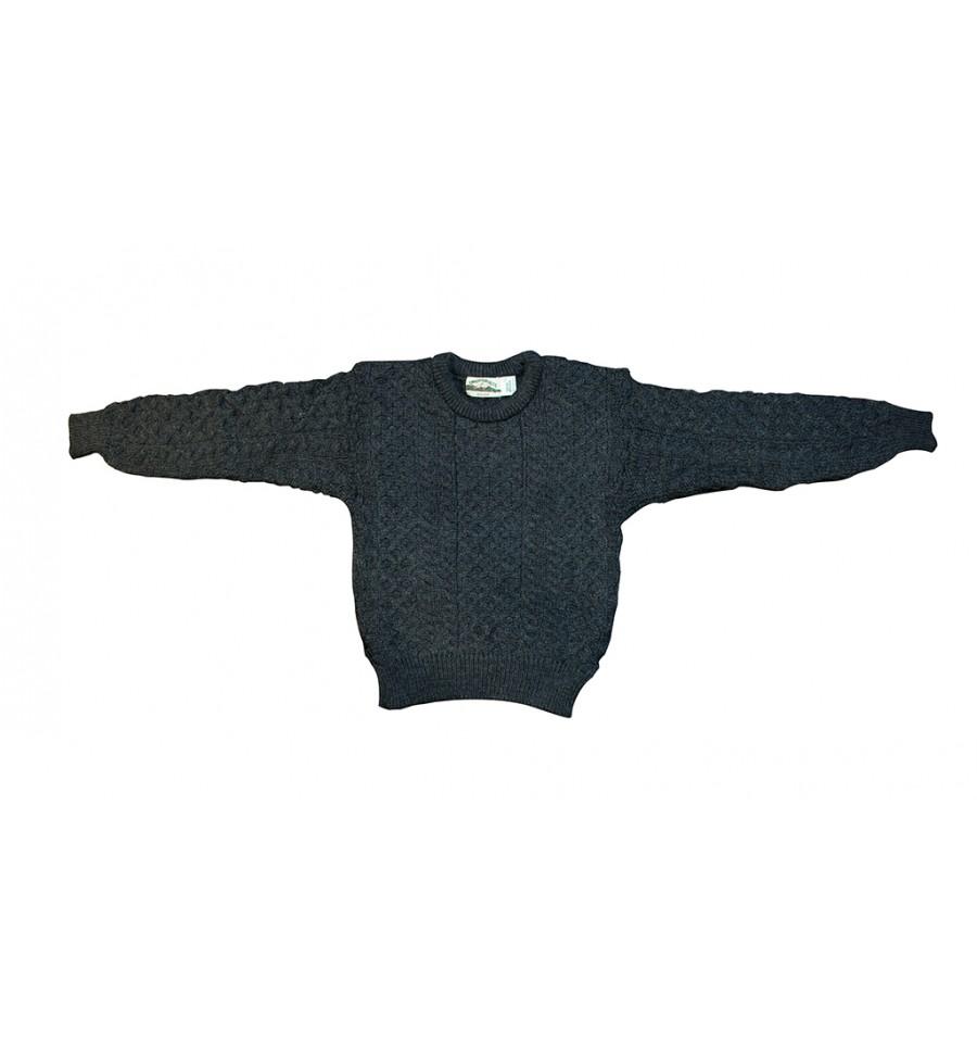 gros remise prix incroyable plus près de Pull Irelandais Noir traditionnel 100% pure laine vierge ...