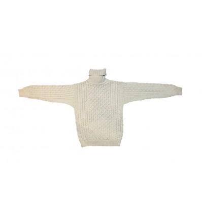 Pull Irelandais Blanc col roulé traditionnel 100% pure laine vierge