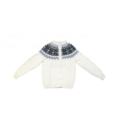 Gilet Cardigan blanc et noir tricoté main