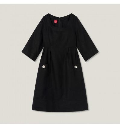 Ulla robe en lin svart