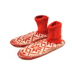 Chaussons-Chaussettes rouge et blanc
