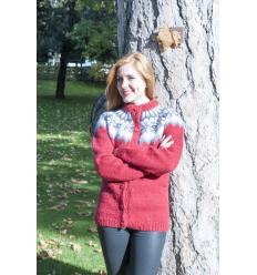 Gillet Cardigan rouge et noir tricoté main