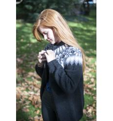 Gillet cardigan noir et blanc tricoté main
